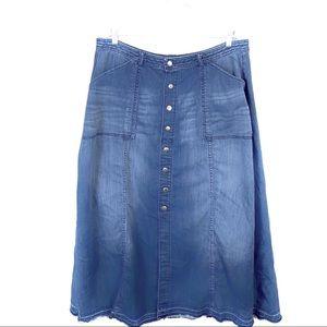Lane Bryant Maxi Snap Front Jean Skirt Size 18